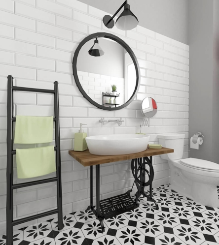 white bathroom with black and white patterned floor